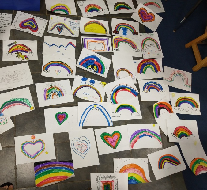 Rainbows and hearts by 4th grade students