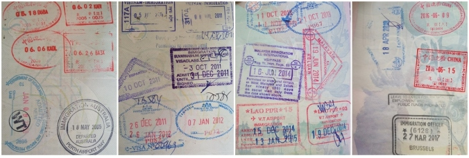 Fitting that the only Australian stamp I can find in two Australian passports is when I left to move to China. Also - not the stamp from Brussels, Belgium! Total list of countries shown: China, USA, Australia, Vietnam, Thailand, Cambodia, Malaysia, Laos, Tanzania, and Belgium.
